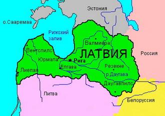 Карта Латвии и столица город Рига